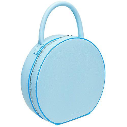Голубая сумочка box-style из натуральной зернистой кожи Fidelitti Tondo, фото
