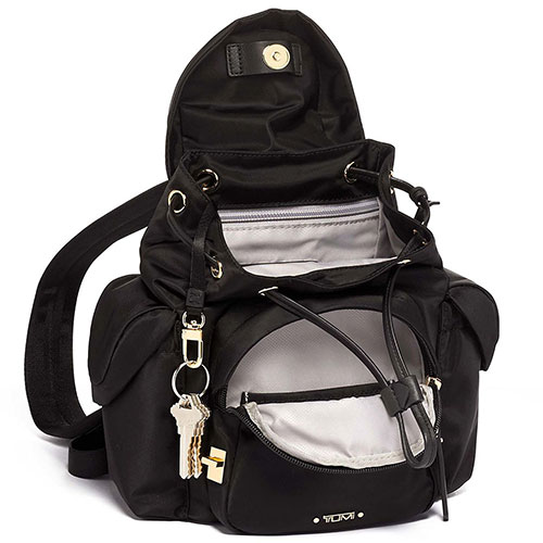Черный рюкзак Tumi Voyageur с золотистой фурнитурой, фото