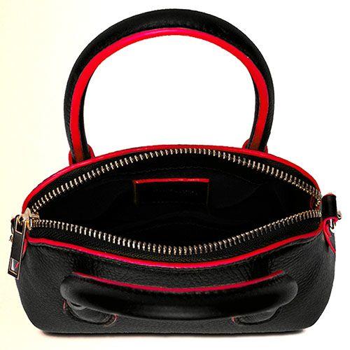 Маленькая женская сумка Fidelitti Brilla из натуральной черной кожи с красной окантовкой, фото
