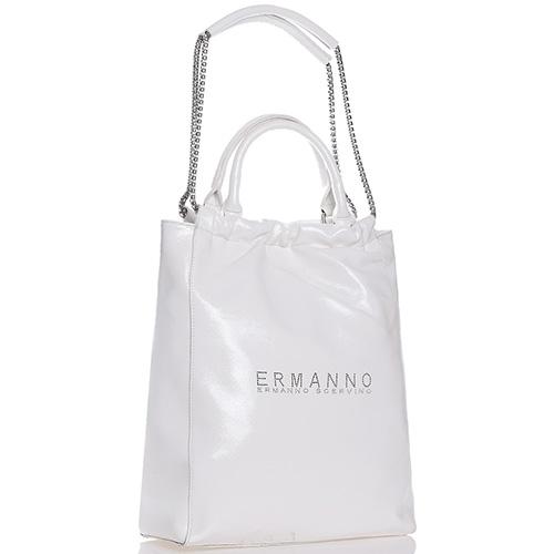 f473e5b0bf1e ☆ Белая лаковая сумка-шоппер Ermanno Scervino Elin купить в Киеве ...
