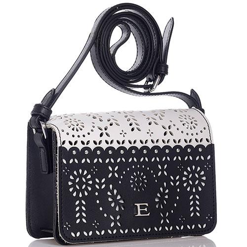 Черно-белая мини-сумка Ermanno Ermanno Scervino Estella с резным узором, фото