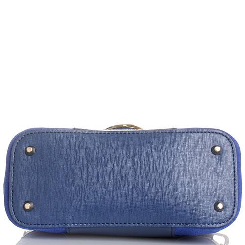 Синяя сумка Cromia Stella из кожи с белыми и бежевыми элементами, фото