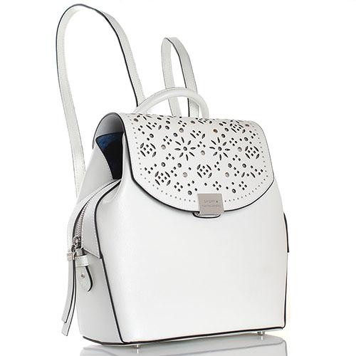 f8c895775721 Рюкзак Cromia Lola из кожи с тиснением Сафьяно белого цвета, фото