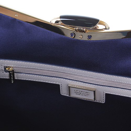 Сумка из кожи сафьяно Cromia Wave бежевого цвета с синими и серыми элементами, фото