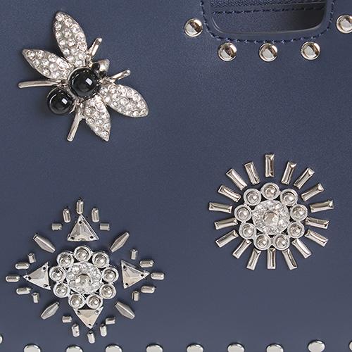 Маленькая сумка из гладкой кожи Cromia Secret синего цвета с серебристым декором, фото