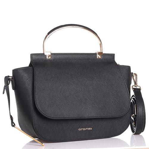 Маленькая сумка Cromia Kenny черного цвета с тиснением сафьяно, фото