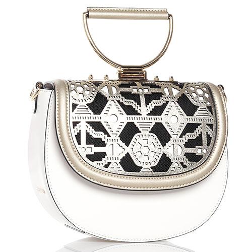 Белая сумка Cromia Jala с золотистым клапаном, фото