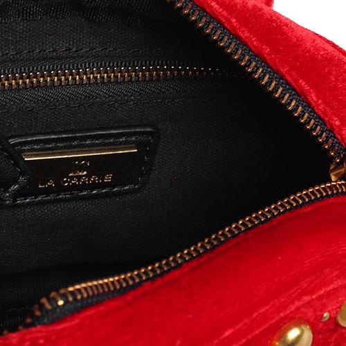 Красная поясная сумка La Carrie из бархата, фото