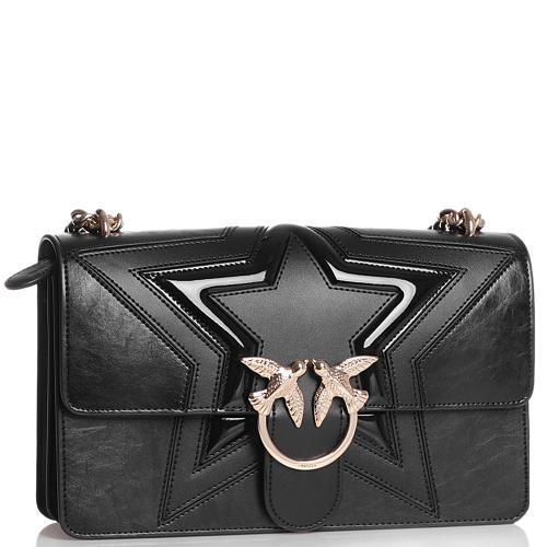 Черная сумка флеп-бег Pinko с брендовым лого, фото