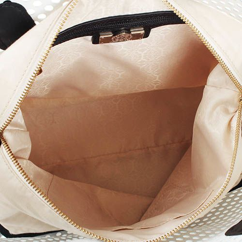 Сумка-шоппер Capoverso белого цвета с перфорацией и отделкой из черной кожи, фото