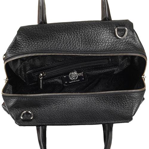 Кожаная сумка черного цвета Capoverso с тиснением в виде шипов, фото