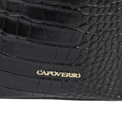 Сумка-мешок Capoverso из тисненой под рептилию лаковой кожи черного цвета, фото