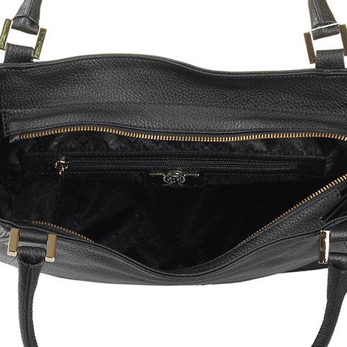 Большая сумка черного цвета Capoverso из крупнозернистой кожи, фото