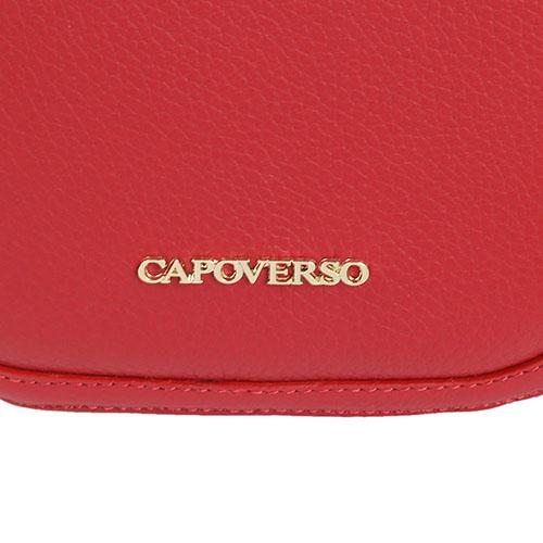 Сумка круглой формы Capoverso из зернистой кожи красного цвета , фото