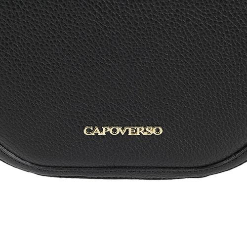 Сумка круглой формы Capoverso из зернистой кожи черного цвета , фото