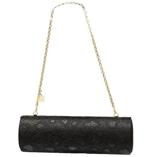 Клатч Escada черный шелковый с кружевом, фото