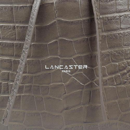 Сумка-мешок Lancaster коричневого цвета из кожа тисненой под рептилию, фото