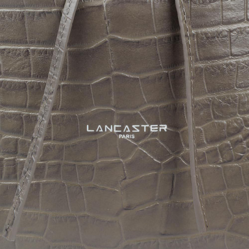 Сумка-мешок Lancaster коричневого цвета из кожи тисненой под рептилию, фото