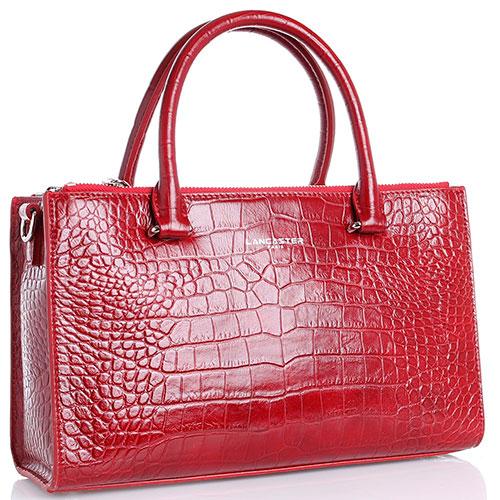 Красная сумка прямоугольной формы Lancaster из кожи с тиснением под рептилию, фото