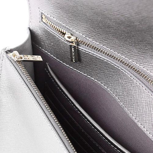 Серебристый клатч Lancaster из кожи с тиснением сафьяно, фото