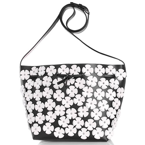 Маленькая сумка-мешок Lancaster из черной матовой кожи с декором в виде цветов, фото