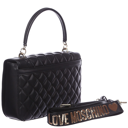 Маленькая деловая сумка Love Moschino черного цвета, фото