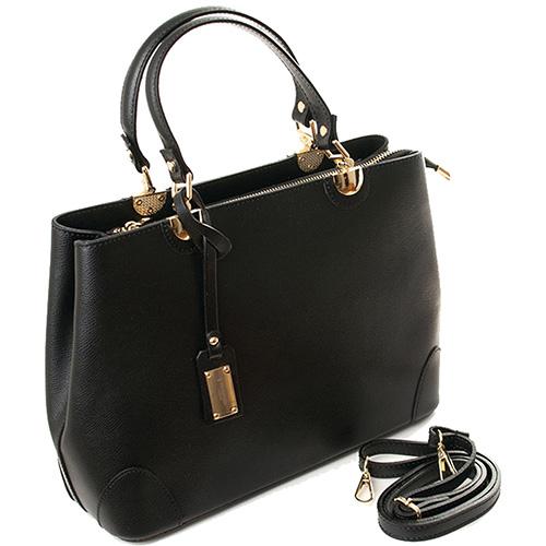 Деловая женская сумка Trussardi черного цвета, фото