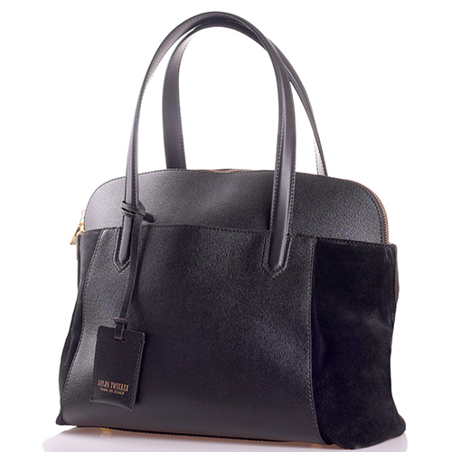 Черная сумка Gilda Tonelli с замшевыми вставками, фото