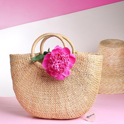 Соломенная сумка J'Amemme с ручками-кольцами, фото