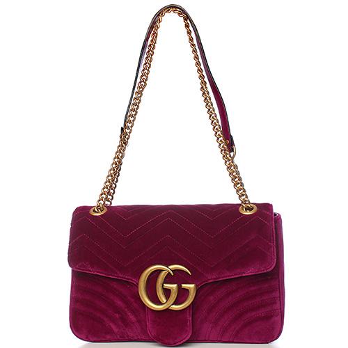 Сумка Gucci GG Marmont из бархата цвета фуксии, фото