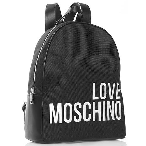 Черный рюкзак Love Moschino с белой вышивкой, фото