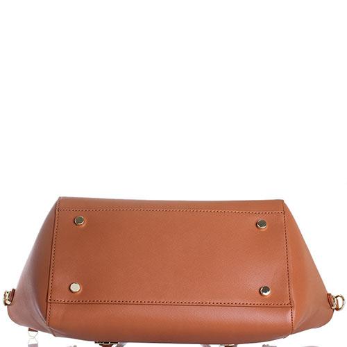 Коричневая сумка Trussardi Jeans с клапаном декорированным заклепками, фото