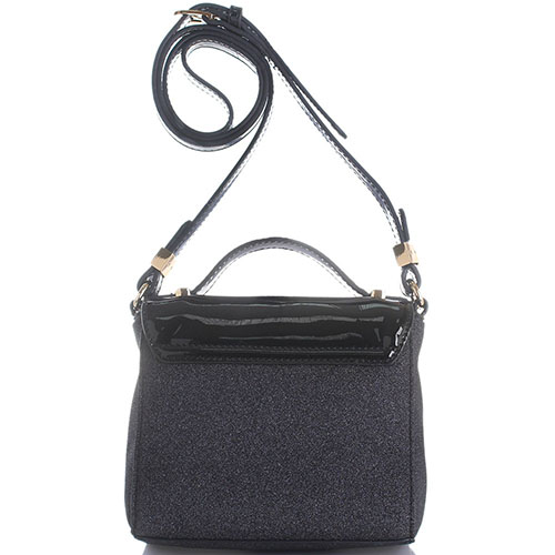 Черная сумка Trussardi Jeans с лаковой вставкой и глиттером, фото