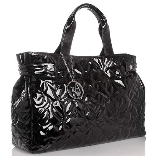 Лаковая сумка с декоративной стежкой Armani Jeans черного цвета, фото