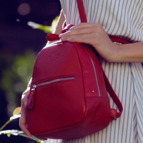 Сумка-рюкзак Amo Accessori Comfort из кожи красного цвета, фото