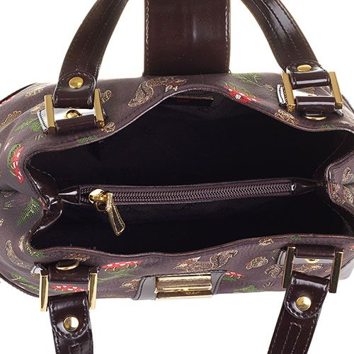Сумочка Braccialini Jacquard с вышивкой в виде белочек и грибов и вставками кожи коричневого цвета, фото