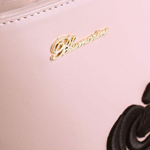 Кожаная бежевая сумка Blumarine Cecile с вышивкой в виде розы, фото