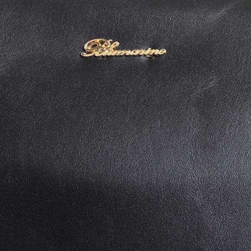 Сумка черного цвета Blumarine Charlotte декорированная рюшами, фото