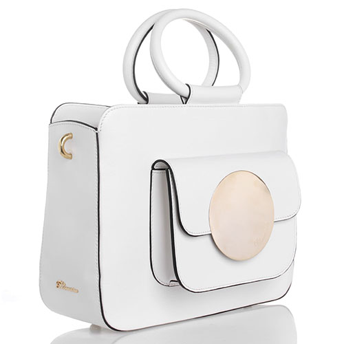 Сумка из белой кожи Blumarine Odette с накладным карманом и круглыми ручками, фото