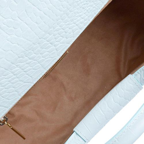 Мятная сумка-тоут Blumarine Odette с тиснением кроко, фото