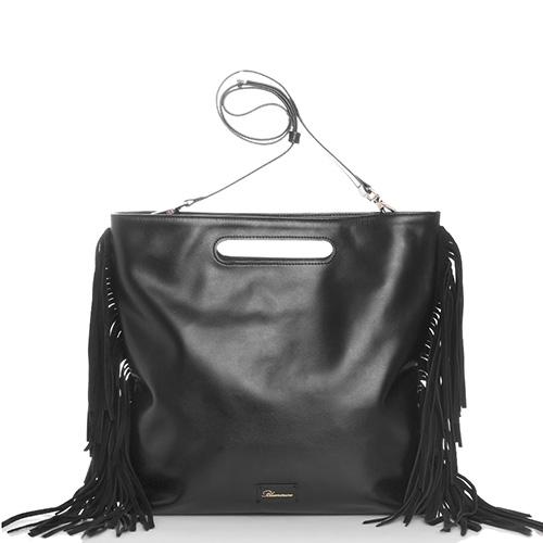 Сумка Blumarine Josephine с бахромой черного цвета, фото