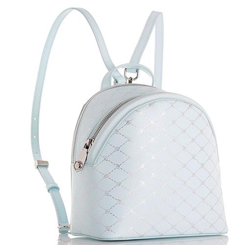 Рюкзак Blumarine Obsession из голубой кожи с фирменным тиснением, фото