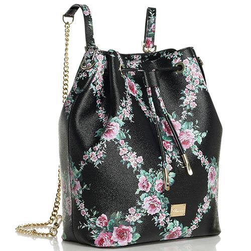 Сумка-рюкзак Blumarine Lara черного цвета с цветами, фото