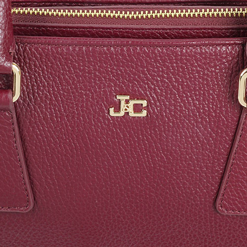 Сумка Jacky Celine компактного размера бордового цвета с тремя отделениями, фото