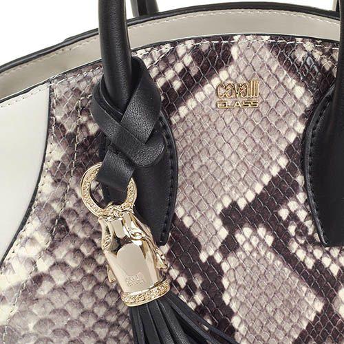 Маленькая сумка Cavalli Class Daphne Python из кожи серого цвета с имитацией кожи питона и съемным брелком-кисточкой, фото