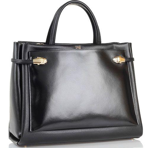 Сумка Cavalli Class Pandora Bag черного цвета с наружным карманом из гладкой кожи, фото