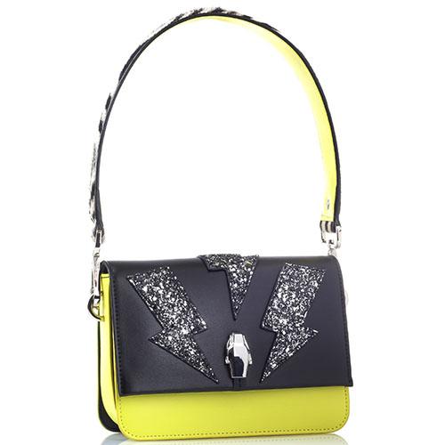 Маленькая сумка Cavalli Class Milano желтого цвета с блестящей аппликацией, фото