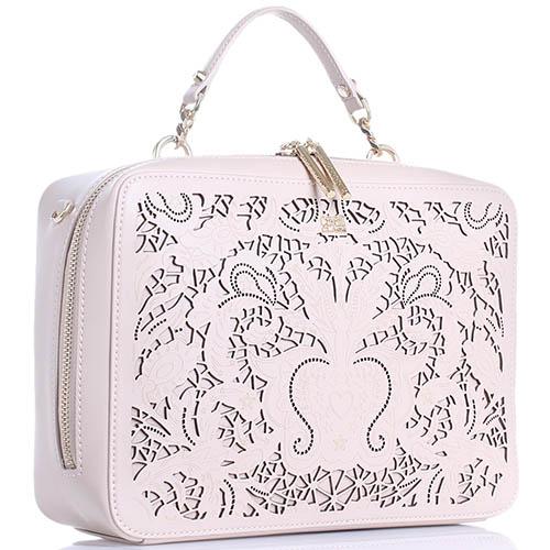 Бежевая сумка Cavalli Class Stardust прямоугольной формы с декоративной перфорацией, фото
