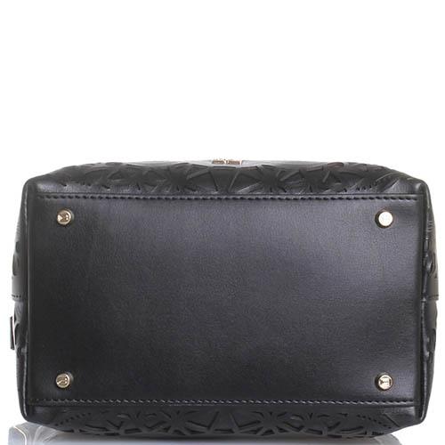 Маленькая сумка-мешок Cavalli Class Stardust черного цвета с декоративной перфорацией, фото