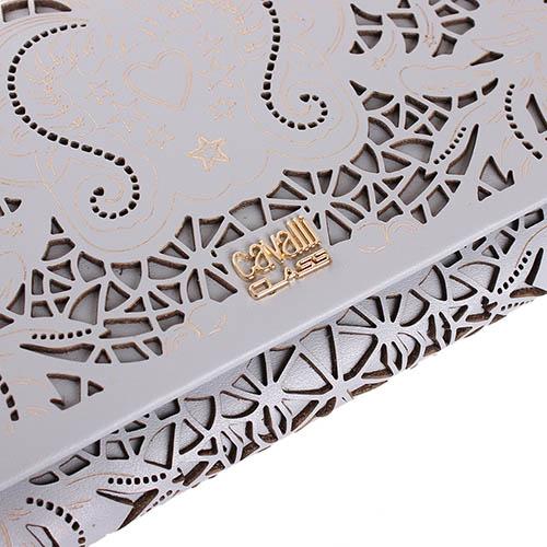 Серый клатч Cavalli Class Stardust с декоративной перфорацией, фото